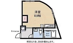 JR中央線 吉祥寺駅 徒歩10分の賃貸マンション 1階1Kの間取り