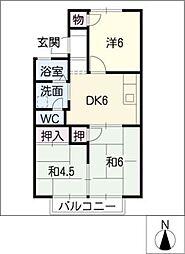 カサベルデI B棟[2階]の間取り