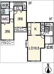 [タウンハウス] 愛知県岩倉市曽野町上街道 の賃貸【/】の間取り