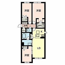 Osaka Metro谷町線 守口駅 徒歩4分の賃貸マンション 2階3LDKの間取り