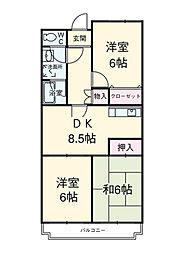 埼玉県上尾市二ツ宮の賃貸マンションの間取り