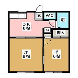 エクセル西の平A[1階]の間取り