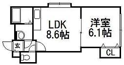 プレミエール東札幌[401号室]の間取り