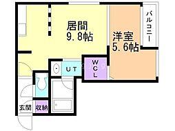 仮)VOYAGE TOYOHIRA 3階1LDKの間取り