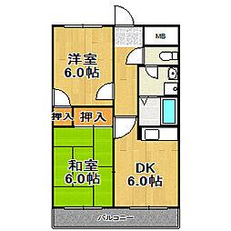 姫島ローズハイツII[406号室]の間取り