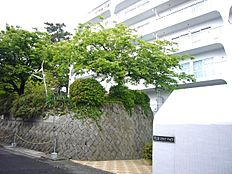 熱海スカイハイツの玄関口。木々の緑とマンションの白さが一層際立ちます。