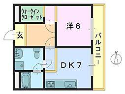 奈良県大和郡山市柳5丁目の賃貸マンションの間取り