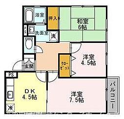 大阪府枚方市長尾元町5丁目の賃貸アパートの間取り