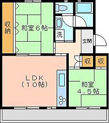 六浦台団地2号棟[5階]の間取り