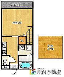 古賀市天神7丁目新築アパート 2階1SKの間取り