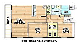 福岡県北九州市八幡西区穴生4丁目の賃貸マンションの間取り