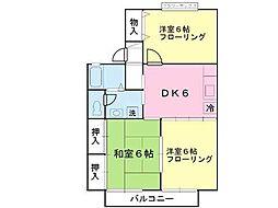 ロイヤルガーデン西中田弐番館 1階3DKの間取り