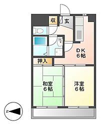ハイツ山崎[2階]の間取り