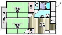 大阪府富田林市藤沢台5丁目の賃貸アパートの間取り