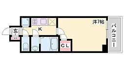 エスリード神戸ハーバーテラス 13階1Kの間取り
