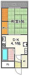 竹田長谷川マンション[206号室]の間取り