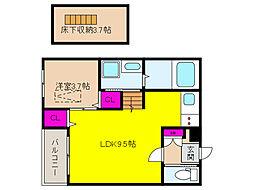阪神本線 青木駅 徒歩5分の賃貸アパート 3階1SLDKの間取り