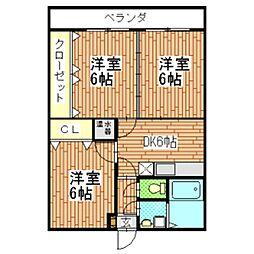 長野県飯田市鼎下山の賃貸マンションの間取り