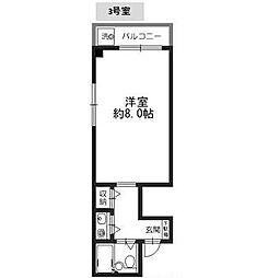 Osaka Metro今里筋線 新森古市駅 徒歩6分の賃貸マンション 2階ワンルームの間取り