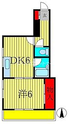サンハイツ 2階1DKの間取り