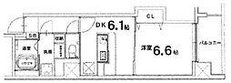 ベレビュー七条河原町 3階1DKの間取り