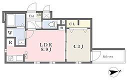 Cherim志賀本通North 2階1LDKの間取り