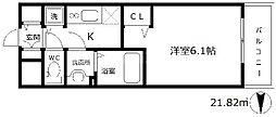 ララプレイス梅田西イルミナーレ 11階1Kの間取り