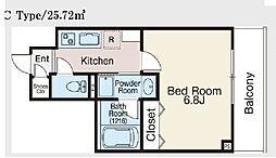 JR総武本線 馬喰町駅 徒歩5分の賃貸マンション 4階1Kの間取り