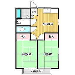 コーポ稲田[2階]の間取り