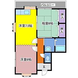 ハウスコートヤマフジD[1階]の間取り