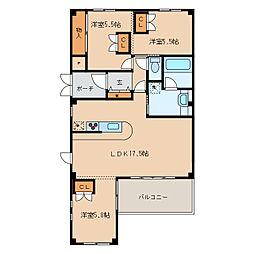 長野県上田市常入1丁目の賃貸マンションの間取り