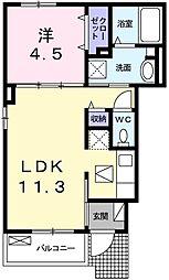 ラインハート 1階1LDKの間取り