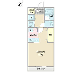 RSビル 3階ワンルームの間取り