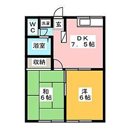 エステートピア松原[1階]の間取り