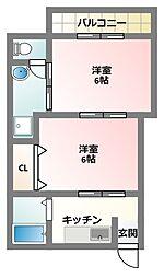 大阪府四條畷市中野3丁目の賃貸マンションの間取り