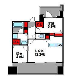グランフォーレ千早マークスクエア ウエストウイング 3階2LDKの間取り