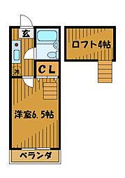 東京都小平市小川町の賃貸アパートの間取り