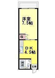 泰中マンション[2B号室]の間取り