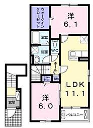 小田急小田原線 鶴川駅 バス5分 鶴川市民センター入口下車 徒歩4分の賃貸アパート 2階2LDKの間取り
