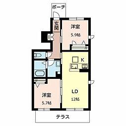 兵庫県加古川市平岡町八反田の賃貸アパートの間取り