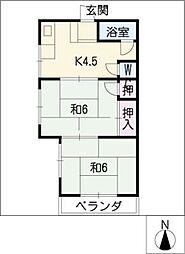 コーポ岡本[4階]の間取り