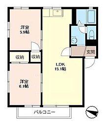 ハウスパインカウンティA[2階]の間取り