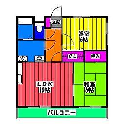 福岡県福岡市博多区那珂1丁目の賃貸マンションの間取り