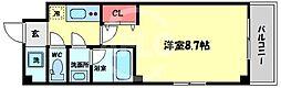 天川INN梅田東 4階1Kの間取り
