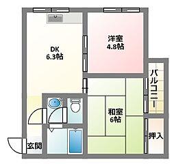 大阪府四條畷市南野2丁目の賃貸マンションの間取り