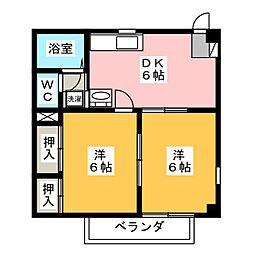 静岡県静岡市清水区横砂中町の賃貸マンションの間取り