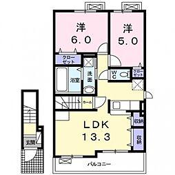 上野町アパート A棟[2階]の間取り