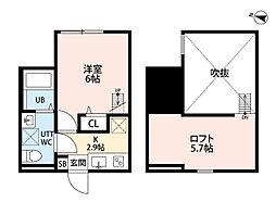 神奈川県平塚市天沼の賃貸アパートの間取り