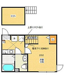 神奈川県大和市草柳1丁目の賃貸アパートの間取り