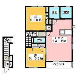 コーポFUJI  X[2階]の間取り